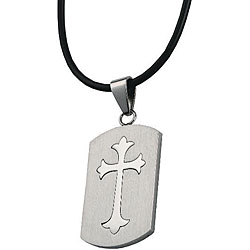 Stainless Steel Large Cross Dog Tag Necklace