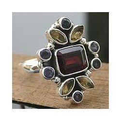 Sterling Silver Garnet/ Citrine 'Splendor' Cocktail Ring (India)