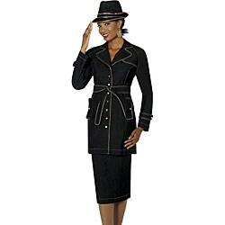 Divine Denim Women's Plus Size Skirt Suit with Waist Tie Belt ...