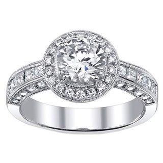 18k Gold 1 9/10ct TDW EGL-certified Diamond Engagement Halo Ring