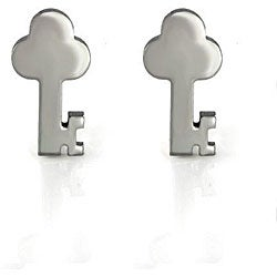 Thumbnail 1, Stainless Steel Key Earrings.