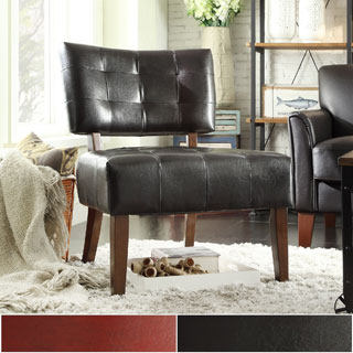 Charlotte Faux Leather Armless Accent Chair by iNSPIRE Q Classic