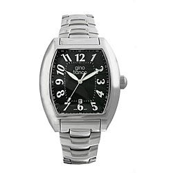Gino Franco Men's Water-Resistant Stainless-Steel Black Dial Watch
