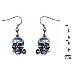 Pewter Red Crystal 'Skull with Rose' Earrings
