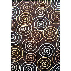 nuLOOM Hand-tufted Pino Collection Circles Brown Rug (7'6 x 9'6)