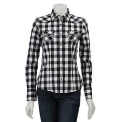 Yanuk Women 39 S White Black Plaid Shirt Free Shipping