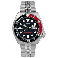Seiko Men's Black Dial Automatic Divers Steel Watch