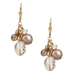 Lola's Jewelry 14k Goldfill Champagne Pearl and Crystal Earrings (8-9 mm)
