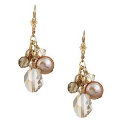 Lola's Jewelry Goldfill Champagne Pearl and Crystal Earrings (8-9 mm)