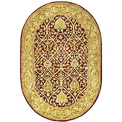 Safavieh Handmade Mahal Red/ Gold New Zealand Wool Rug (7'6 x 9'6 Oval)