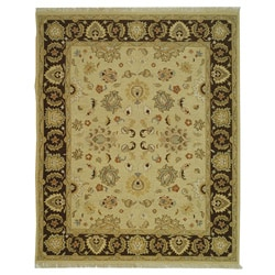 Indo Sumak Handmade Heirloom Ivory/ Brown Rug (10' x 14')