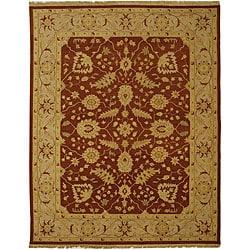Indo Sumak Flatweave Foli Red/ Beige Wool Rug (10' x 14')