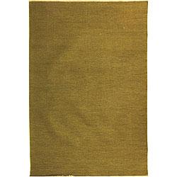 Indo Sumak Flatweave Solid Olive Rug (10' x 14')