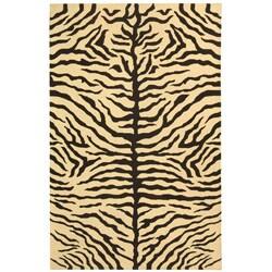 Indo Handmade Sumak Flatweave Zebra Print Rug (4' x 6')