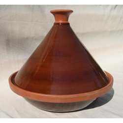 Hand-painted 12-inch Brown Cookable Tagine (Tunisia)