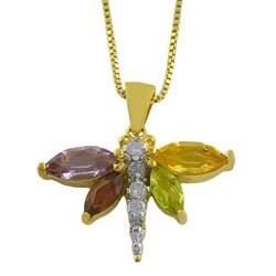 Fremada 14k Gold Overlay Multi-gemstone and 1/10ct TDW Diamond Dragonfly Necklace