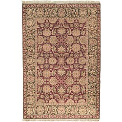 Oushak Hand-knotted Wool Heirloom Burgundy Rug (6' x 9')