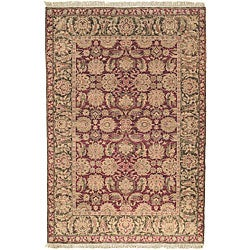 Heriloom Hand-knotted Treasures Burgundy/ Green Wool Rug (8' x 10')