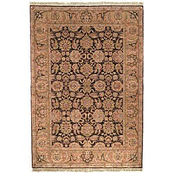 Heriloom Hand-knotted Treasures Brown/ Gold Wool Rug (5' x 7'6)