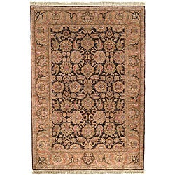 Heriloom Hand-knotted Treasures Dark Brown/ Gold Wool Rug (6' x 9')