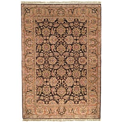 Heirloom Hand-knotted Treasures Brown/ Gold Wool Rug (8' x 10')