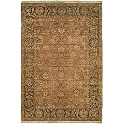 Heirloom Treasures Hand-knotted Gold/ Green Wool Rug (5' x 7'6)