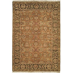 Heirloom Treasures Hand-knotted Gold/ Green Wool Rug (6' x 9')