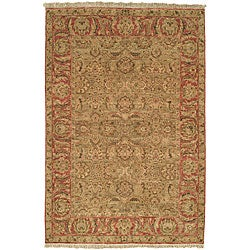 Chinese Treasures Hand-knotted Green/ Rose Wool Rug (6' x 9')