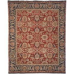 Heirloom Hand-knotted Treasures Red/ Navy Wool Rug (5' x 7'6)