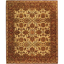 Heirloom Hand-knotted Hand-spun Wool Ivory/ Rust Rug (5' x 7'6)