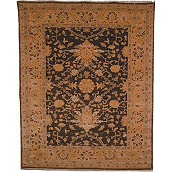 Oushak Hand-knotted Dark Green/ Gold Wool Rug (8' x 10')
