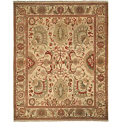 Farahan Hand-knotted Ivory Hand-spun Wool Rug (8' x 10')