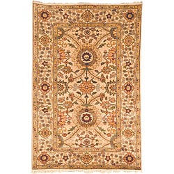Oushak Legacy Hand-knotted Birj Ivory Wool Rug (6' x 9')