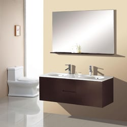 Double Sink 51-inch Espresso Bathroom Vanity Set - White - Thumbnail 0