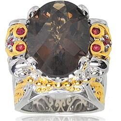 Michael Valitutti Silver/ 18k Vermeil Smoky Quartz and Orange Sapphire Ring