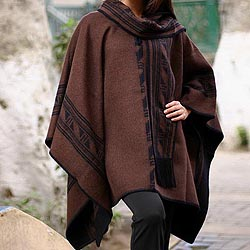Handmade 'Warm Earth' Alpaca Wool Reversible Poncho (Peru)