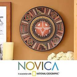 Handmade 'Cosmic Hummingbird' Cuzco Plate (Peru)