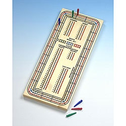 Solid Hardwood Three Track Club Cribbage Master Board