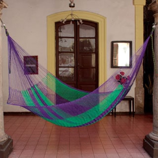 Vineyard Outdoor Garden Patio Pool Green Purple Stripe Durable Unique Handmade Knotted Rope Style Nylon Single Hammock (Mexico)
