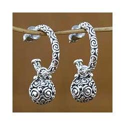 Handmade Sterling Silver 'Ringlets' Dangle Earrings (Indonesia)