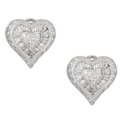 Kabella 18k White Gold 2 1/10ct TDW Heart Diamond Earrings (G-H, I1)