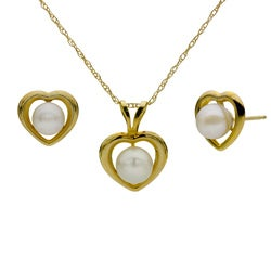 DaVonna 14k Yellow Gold Akoya Pearl Heart Jewelry Set (5-5.5 mm)