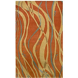 Hand-tufted Orange Contemporary Spirit New Zealand Wool Abstract Rug (5' x 8')