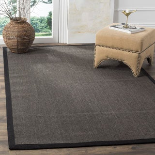Safavieh Casual Natural Fiber Charcoal and Charcoal Border Sisal Rug (8' x 10')