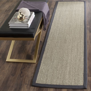 "Safavieh Casual Natural Fiber Hand-Woven Resorts Natural / Grey Fine Sisal Runner Rug - 2'6"" x 8'"