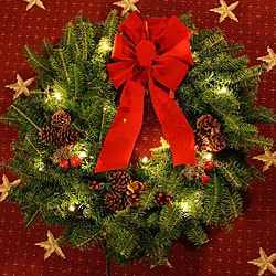 Classic Pre-lit 24-inch Fresh-cut Maine Balsam Wreath