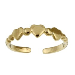 14K Gold over Sterling Silver Triple Hearts Adjustable Toe Ring