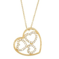 Sterling Essentials 14k Yellow Gold over Sterling Silver CZ Heart Necklace