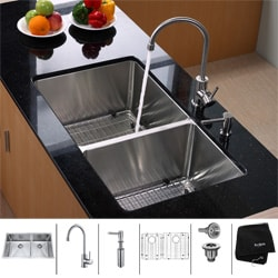 KRAUS 33 Inch Undermount Double Bowl Stainless Steel Kitchen Sink with Kitchen Bar Faucet and Soap Dispenser