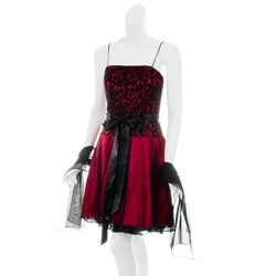 Aspeed Women's Red/ Black Pleated Skirt Party Dress